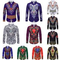 Men's Casual Shirt African Tribal Dashiki Print Hippie Ethnic Dress Shirts Tops
