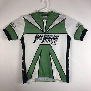 Mens L Cycling 1/4 Zip Shirt Jersey 3 Back Pocket Jack Johnson Bicycles Green
