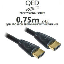 QED HDMI Cable 0.75m Pro Short Length High Quality Oxygen 4k HDTV Full 1080