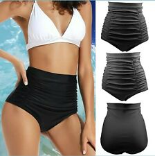 Women's Black High Waisted Ruched Swimsuit Bottom Size Small