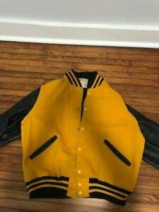 Vintage varsity letterman jacket mens black and gold size 44