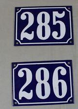 2 emaillierte Hausnummernschilder Emaille Schilder Blau/Weiß - 285 + 286 /S310