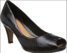 New🌹Clarks 🌹 UK 3.5 Chorus Sing Black Snake Leather Peep Toe Court Shoes 36EU