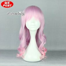 Lolita Women Long Curly Light Purple Mixed Pink Synthetic Hair Party Cosplay Wig