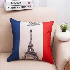 France Eiffel Tower Cotton Linen Throw Pillow Case Cushion Cover Home sofa Decor