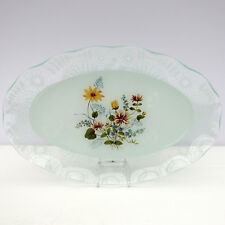 Vintage Large Glass Oval Serving Sandwich Cake Plate Floral Lace Edged