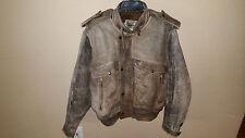 Vintage Men's Wilsons Size 44 Gray Distressed Biker/Bombe Leather Jacket