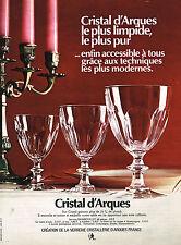 PUBLICITE  1969  CRISTAL D'ARQUES verres  service RAMBOUILLET