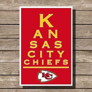 """Kansas City Chiefs Poster NFL Football Eyechart Art Print 12x16"""""""