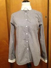 STEVEN ALAN 100% Cotton Black & White Check Pattern White Collar Button Down SZ