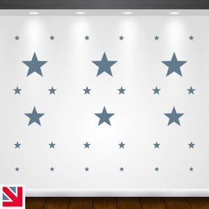 30 STARS Wall Stickers SET Decal Vinyl Art A4 KIDS BOYS GIRLS BEDROOM NURSERY
