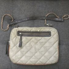 Guess Quilted Crossbody Laptop Bag - Tan Brown Gold, Removable Strap - Damage