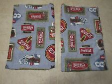 Coca Cola Blue Pillowcases Set of 2 King Size Shams USA Ice Cold Poly Cotton