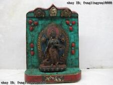 Tibet Buddhism Wood inlay turquoise Red coral padma TaRa Guan Yin Shrines Tangka