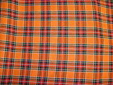 Orange Tartan Fabric Polyester 150cm Wide Various Colours Availiable  FREE P+P