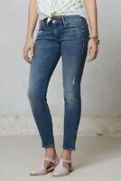Mother The Looker Ankle Zip Graffiti Girl Blue Crop Skinny Jeans SZ 31