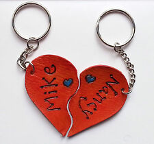 Personalised Gift Love Romantic Anniversary Heart Leather Keyrings