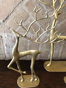 Pottery Barn Merry Reindeer Brass Medium Christmas Decor Deer