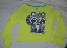 Justice Girls Neon Yellow Sweat Shirt Glittery Raccoon Size 10 nb