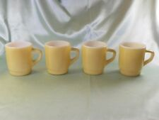 Set Of 4 Vintage Yellow Anchor Hocking Fire King Coffee Mugs, Made In U.S.A.