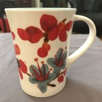 Starbucks Coffee 2008 Red Buds Blue Flowers Floral Mug Cup 12 oz Collectibles
