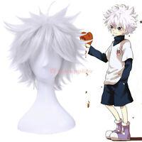Killua Gintoki Aohitsugi Samatoki Silver White Short Cosplay Wig Fluffy Hair