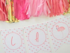 PINK FLAMINGO Bunting. nido, baby shower, Hen Do, Prima Festa di Compleanno Decor