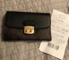 Coach Signature Avery Medium Envelop Wallet F34780 Brown Black + gift receipt