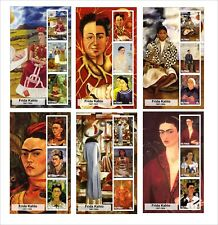 2015 FRIDA KAHLO 6 ART PAINTINGS SOUVENIR SHEETS MNH UNPERFORATED