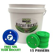 Green Biscuit Bucket 15 Pucks, Passers, Shooters, Roller or Pro. Free NHL Puck!