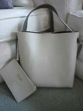 Shiraleah Beige & Taupe Buttery Soft Vegan Leather Tote Bag w Makeup Case~Nwot