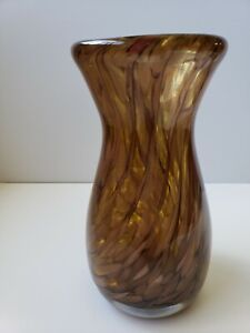 Murano Italian Barbini Gold Flakes Swril Brown Art Glass Vase Handblown