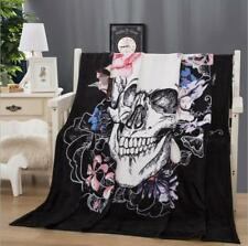 Skull Flower Velvet Plush Throw Blanket Sherpa Bedding Thin Quilt 60''×80''