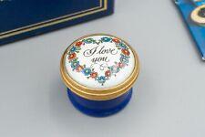 Halcyon Days Enamel Trinket Box, Floral – I Love You – Blue, White, Loose Lid