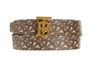 Authentic Burberry TB logo Monogram E-Canvas Brown Belt Size 38 / 95 & 40 / 100