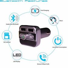 Wireless Car FM Transmitter Radio Adapter,Bluetooth Receiver, Dual-USB Charger