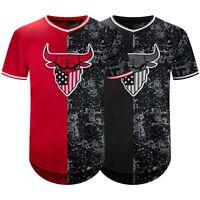 New Men Longline Bulls American Flag Jersey T-Shirt Short Sleeve Hip Hop Sport