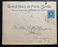 1906 Sevilla Spain Grand Hotel Paris Cover To Media PA USA