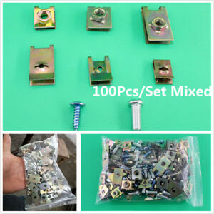 100 Pcs Metal Plate U-Type Clips Speed Nuts for Car Panel Fender Universal