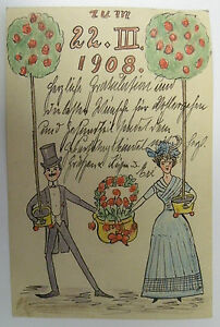 Handgemalte Karte, signiert, Geburtstagsgrüße