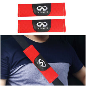 2Pcs Red Color Car Baby Seat Belt Shoulder Cover Pad Fit For Infiniti Auto