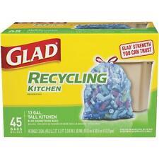 4 Pk Glad 13 Gal 45 Count Municipal Blue Recycling Trash Garbage Bag 78542
