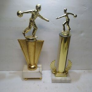 """Vintage Bowling Trophy: Mounted on marble..70's? . Lot of 2. 1 wrapped 12"""""""