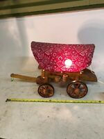"24"" LARGE Vintage Wooden Western Covered Wagon Stagecoach NIGHT LIGHT LAMP WORKS"