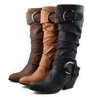 Women Round Toe Block Heels Buckle Strap Knee High Boots Winter Knight Shoes sz