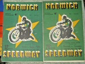 NORWICH SPEEDWAY, 2 PROGRAMMES  1949 SEASON