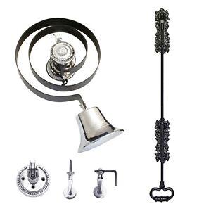 Butlers Bell - Black Iron Pull + CHROME   Classic Design   FULL KIT