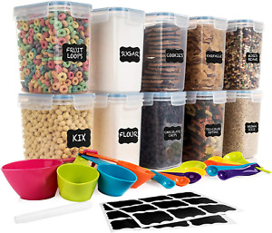 Cereal Containers Kitchen Space Saver Cabinet Organizer Food Plastic Storage