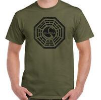 Dharma T-Shirt, Mens Lost TV Series Unisex Top Swan Logo Distressed Program