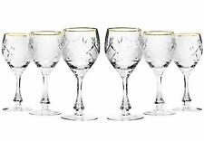 Set of 6 Neman Glassworks, 10-Oz Vintage Russian Crystal Wine Glasses Goblets